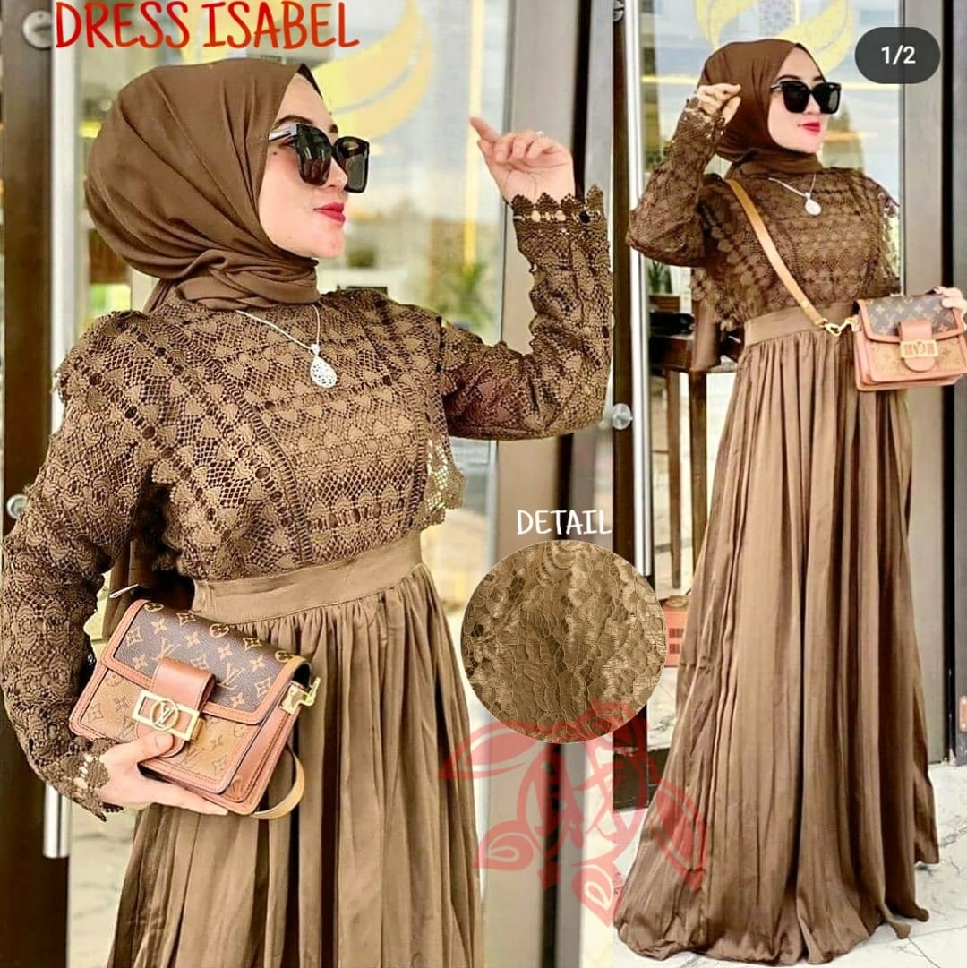 MileaDillan.id Maxi Dress Rosely | Maxi Dress Wanita | Maxi Dress Kekinian | Maxi Dress Brukat