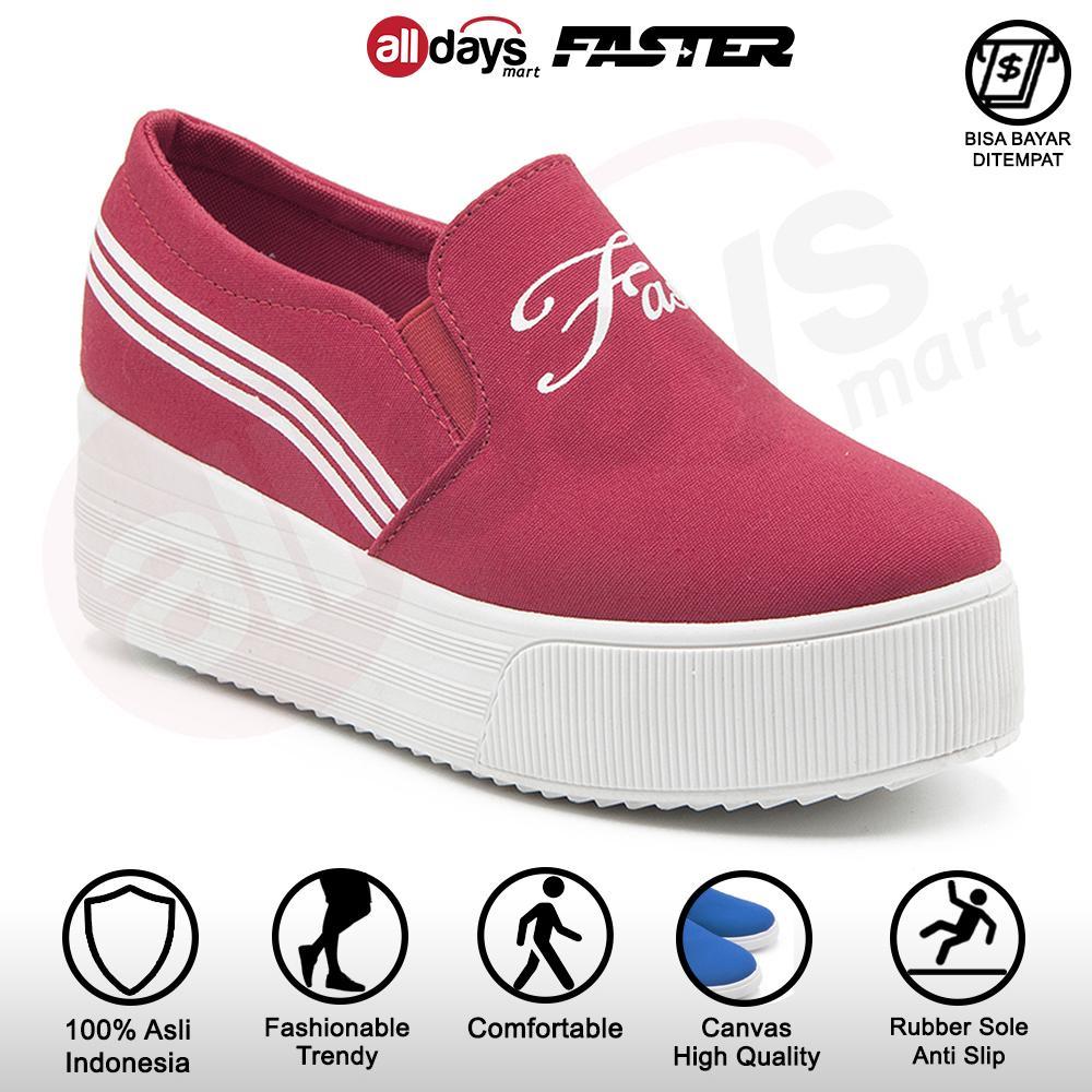 faster sepatu kanvas slip on hak wanita 1703-075 – maroon size 36-41