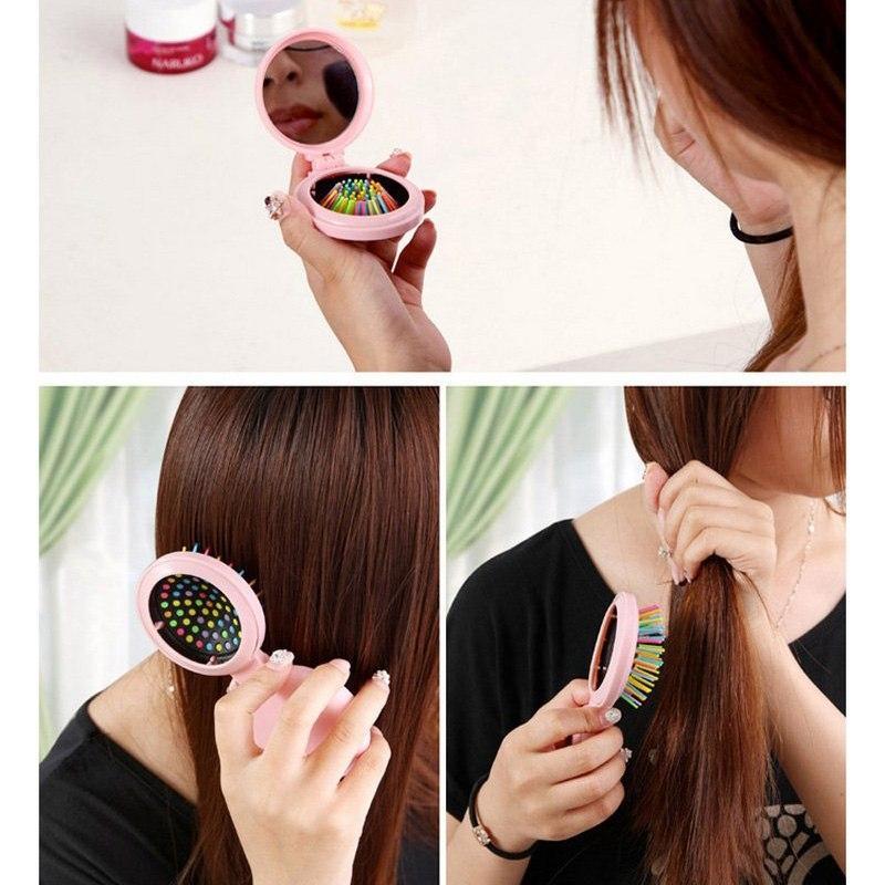 jbs sisir pijat anti rontok dengan cermin merawat kulit kepala airbag lucu shampoo mini portable vitamin rambut lipat bulat k124