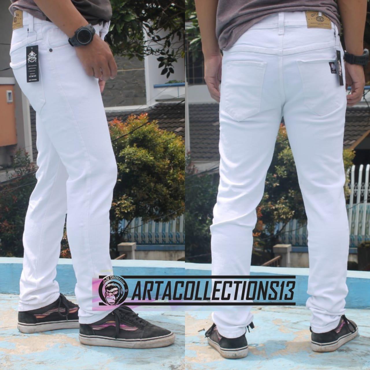 art – celana jeans skinny pria putih premium / celana jeans ghahar putih pria slimfit