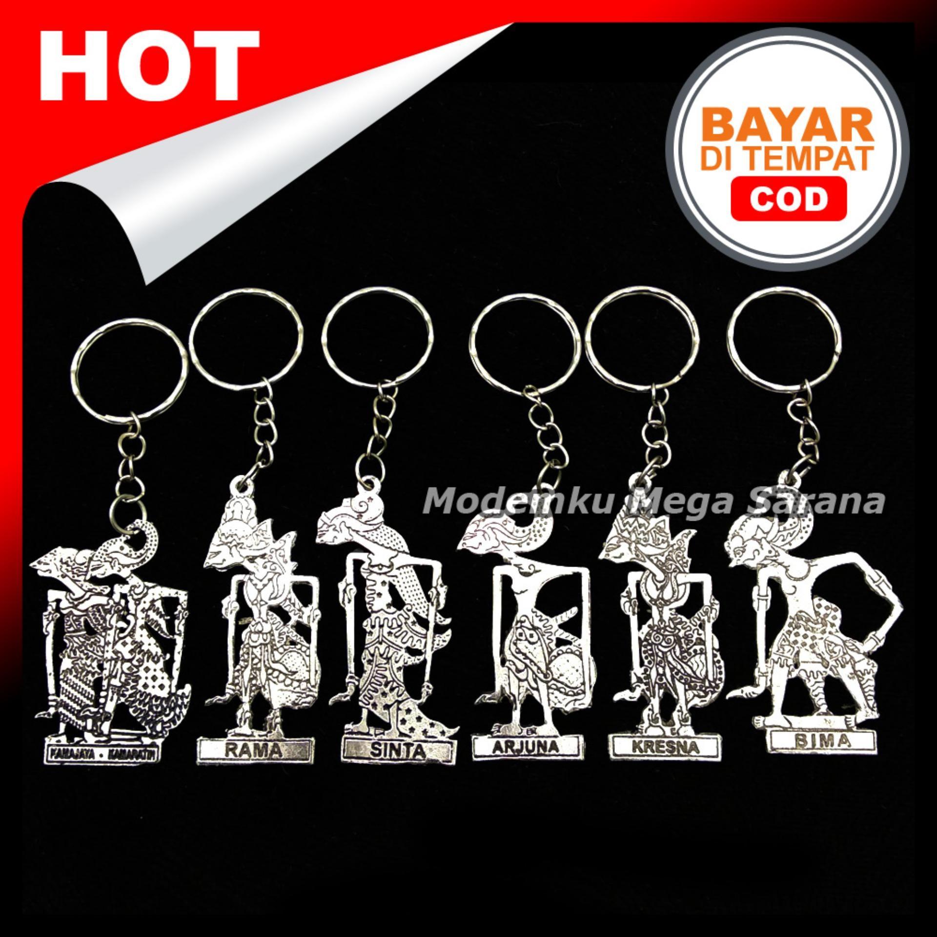 Gantungan Kunci Wayang Logam Silver Khas Indonesia - isi 10pcs