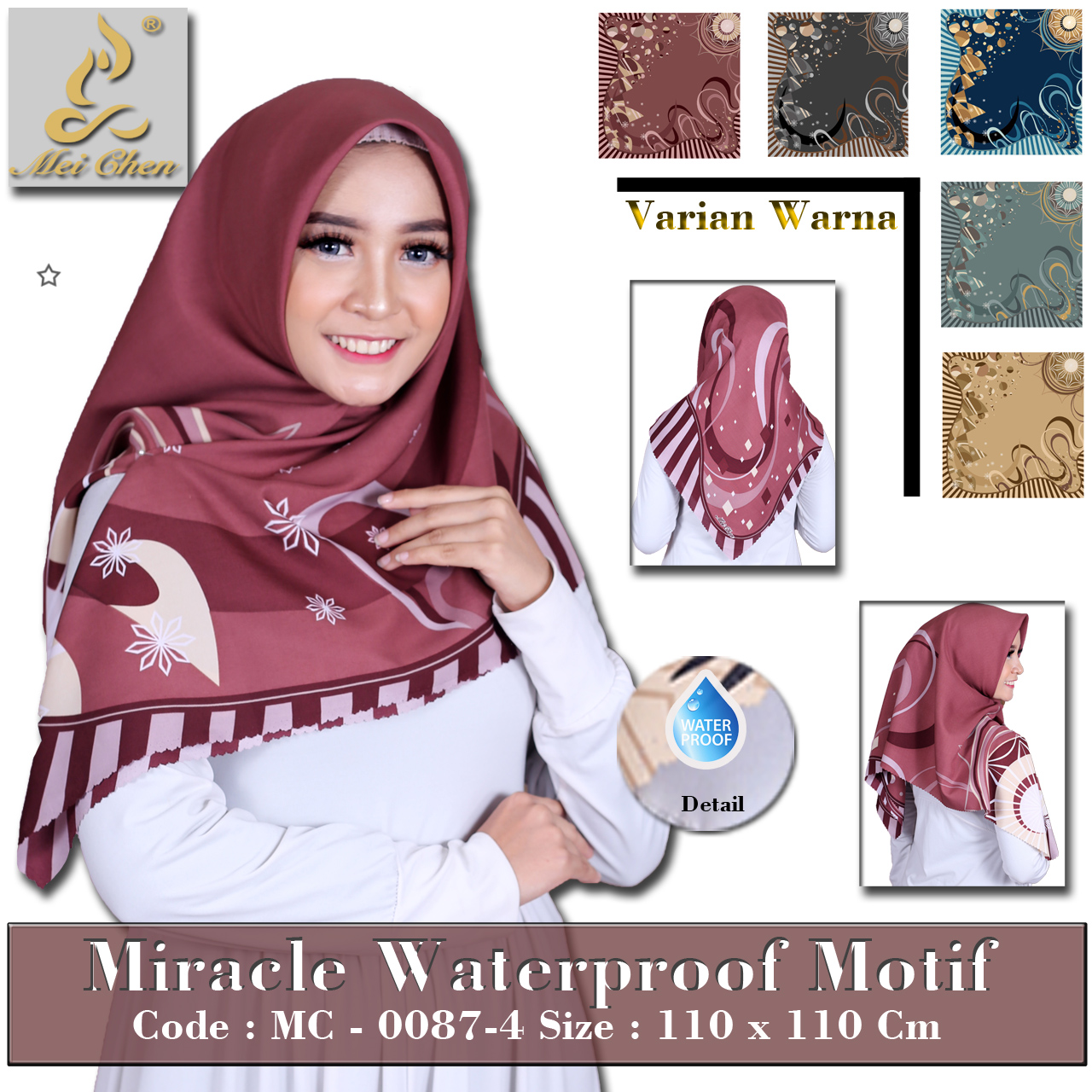 mei chen hijab anti air motif fokadot simpel laser cut ( bisa seragaman )
