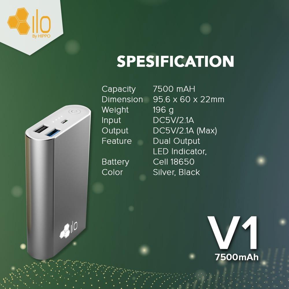 ... Hippo Powerbank Ilo V1 7500 mAh Silver - 3
