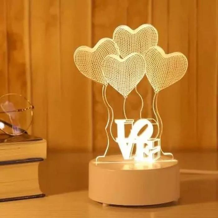 sbu lampu hias led 3d / lampu tidur hias dimenci / lampu transparan