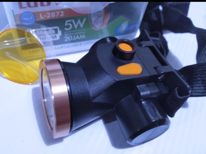 senter kepala luby led 5 7 10 12 watt waterproof tahan air tahan lama 18 jam super long life charger bonus lensa kuning