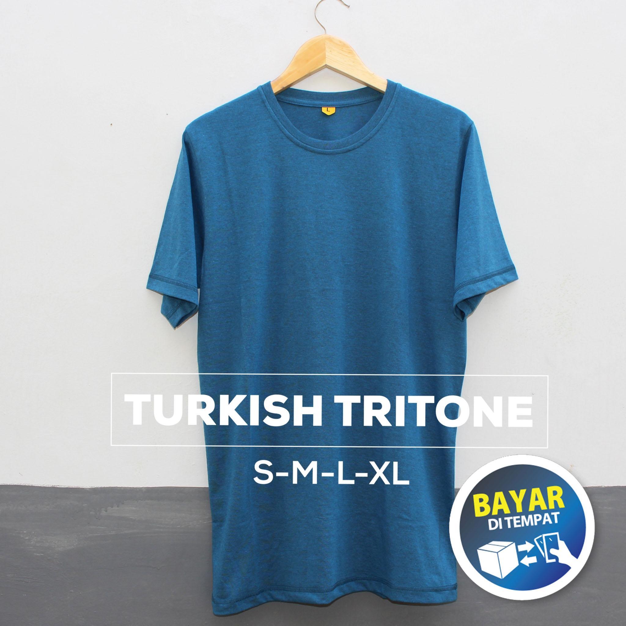 Baju Kaos Polos Oblong Bandung TURKISH TRITONE Biru Turkis Cewek Cowok