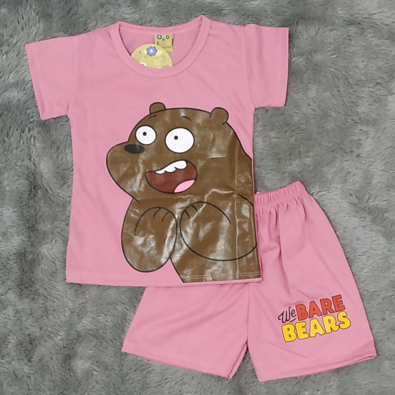 cod setelan anak anak we bare bear grizzly size s m l xl umur 0-4 tahun