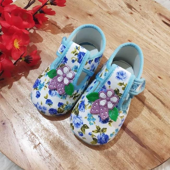 Sepatu bayi murah 0-12bulan bunga biru