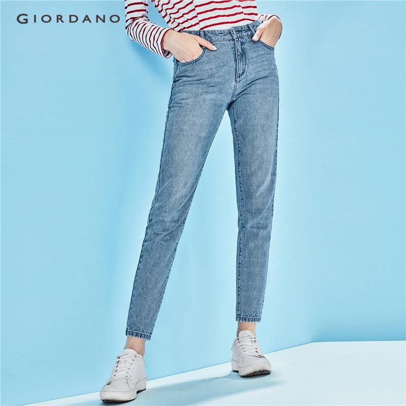 Giordano Women Straight Jeans Ankle Length Denim Pants For Women Cotton Cropped Jeans Five Pocket Style