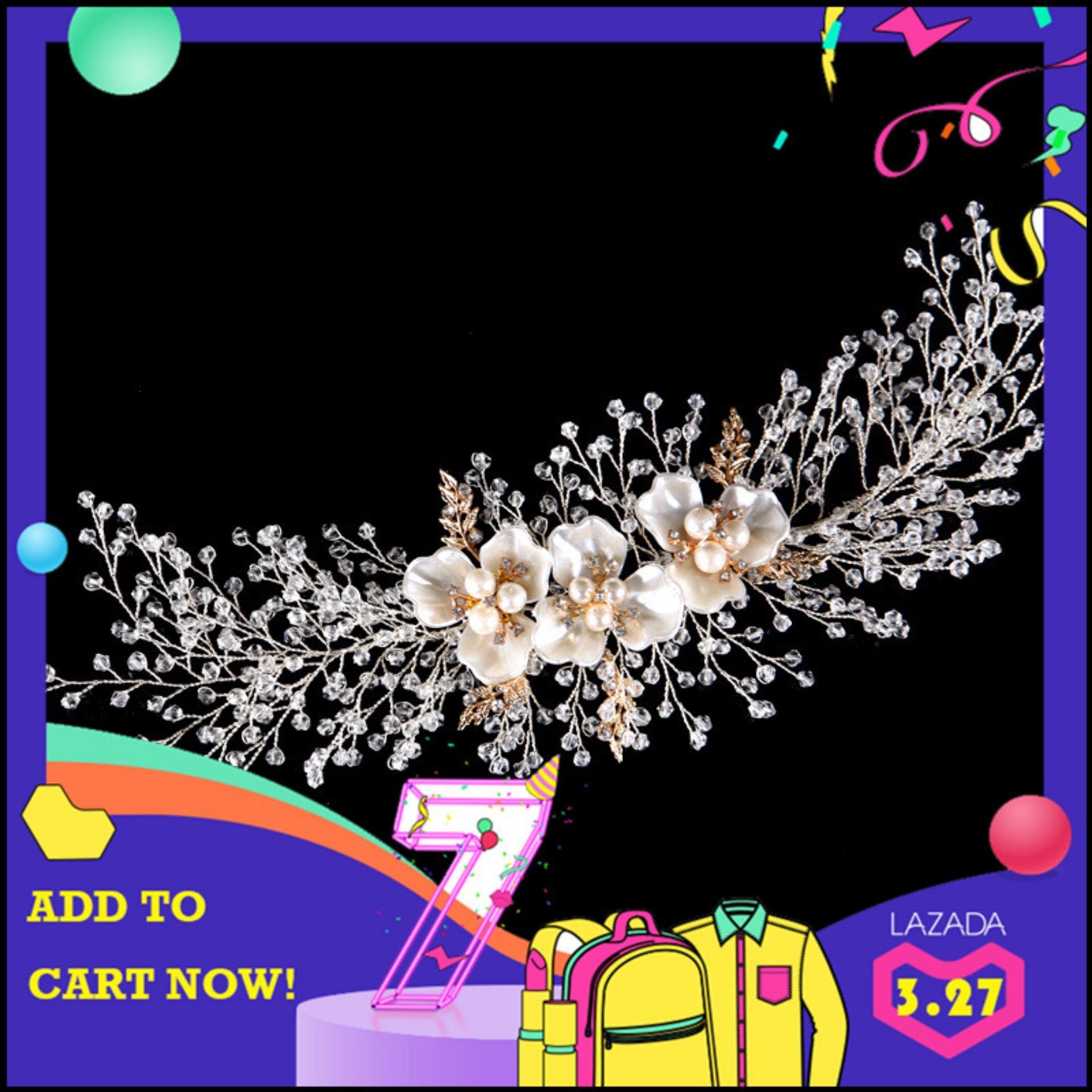 ELEGANT 3-Leaf Clover dengan Mutiara Air Tawar Pohon Anggur Pengantin Halo Wedding Headband Tiara