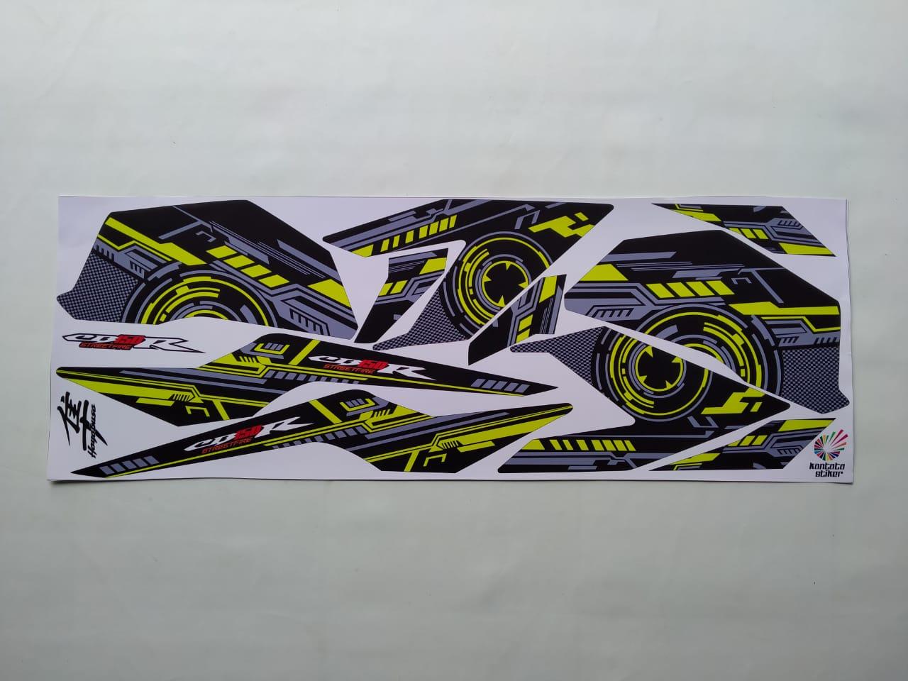 stiker striping motor cb150r variasi hitam hijau stabilo