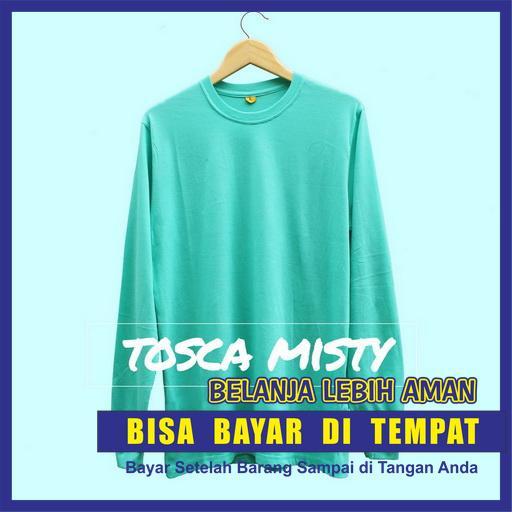 Baju Kaos Polos Oblong Lengan Panjang TOSCA MISTY / Long Sleeve Toska Misti Kaos Cewek Cowok