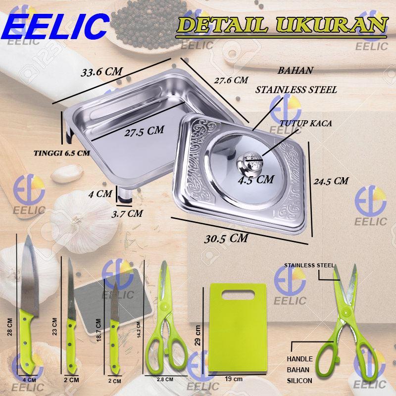 Review Eelic Was Q8822m1 Warmer Square Pan Panci Wadah Saji Prasmanan Panci Prasmanan Nampan Saji Stainless Steel Penutup Kaca Pisau Dapur Multifungsi Anti ...