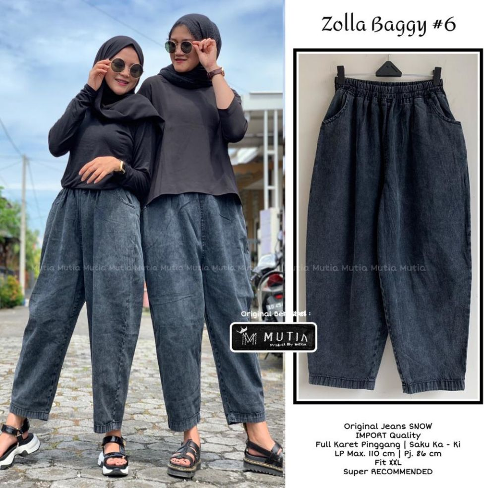 celana panjang jeans wanita zolla baggy #13 fit big xl besar jumbo / fashion wanita jeans