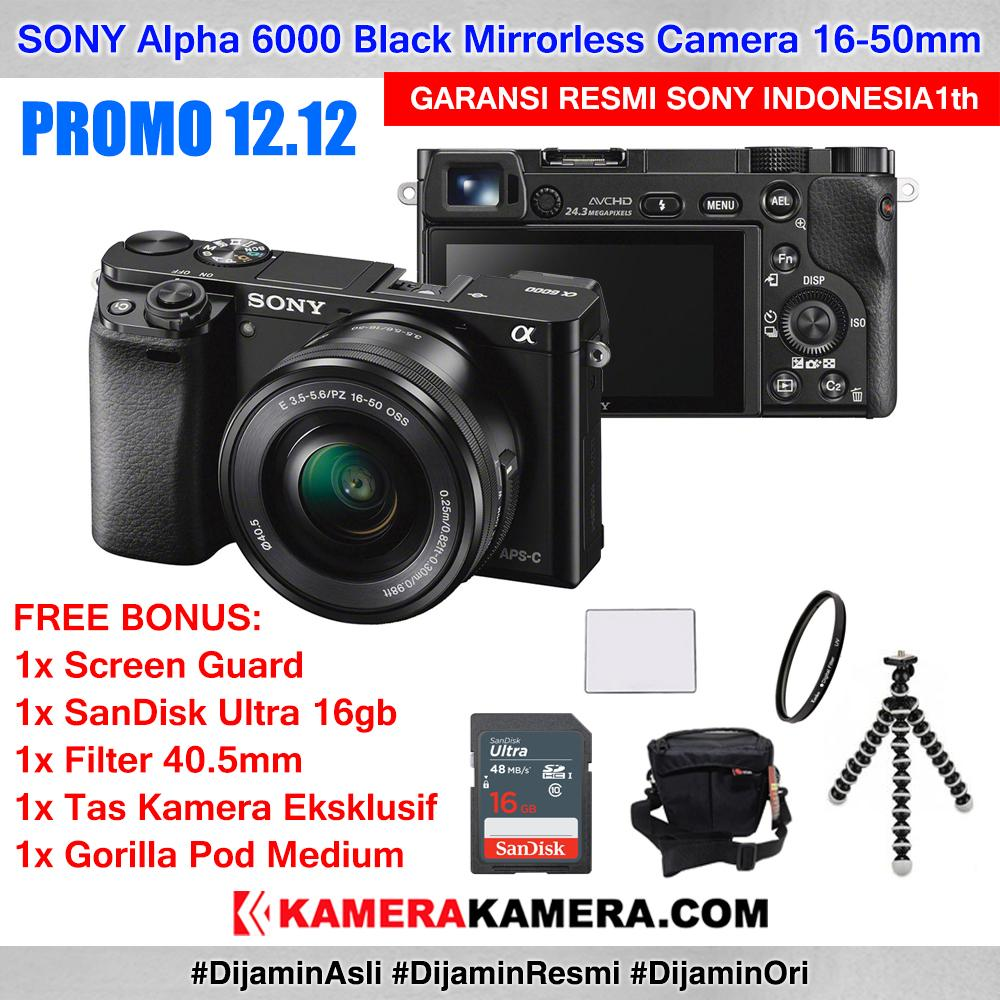 SONY Alpha 6000 with 16-50mm Lens Mirrorless Camera a6000 WiFi 24MP Full HD Garansi Resmi Sony Indonesia 1th - PROMO 12 12 + Screen Guard + SanDisk Ultra 16gb + Filter UV 40.5mm + Tas Kamera + Gorilla Pod Medium