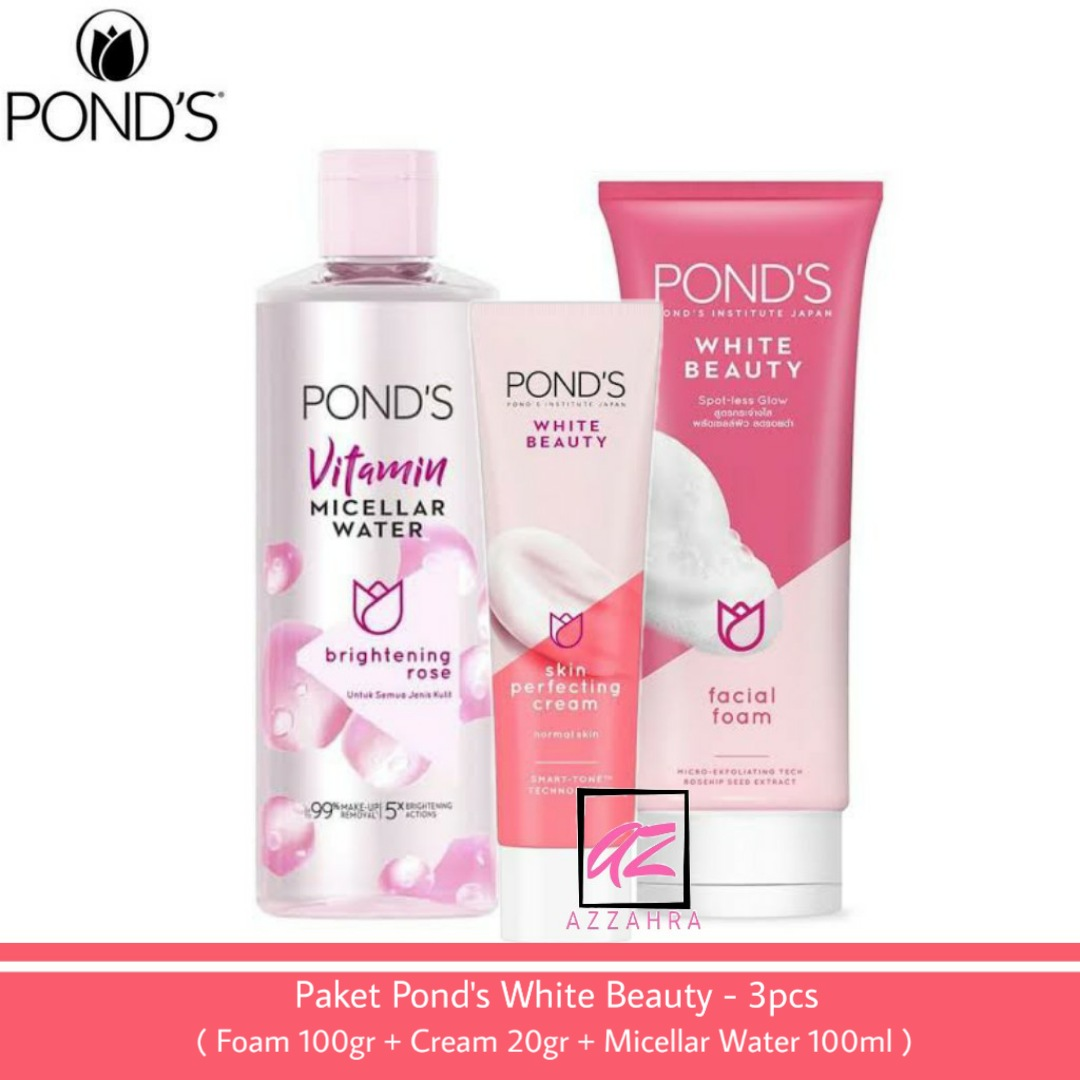 ponds paket white beauty mencerahkan wajah – 3pcs ( foam 100ml + cream 20gr + micellar water 100ml )
