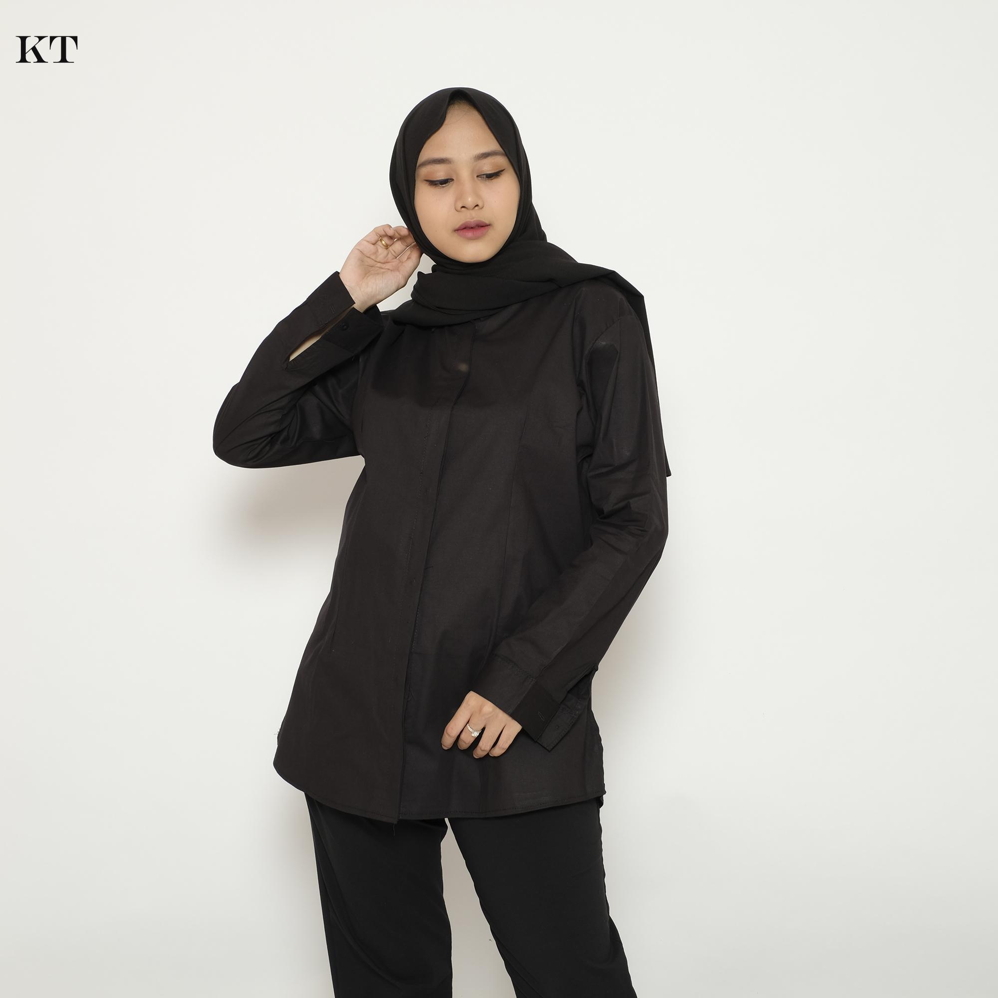 haymeestore kemeja basic polos jumbo wanita baju kantor cewek formal atasan kerja cewe bahan katun strecth hitam putih