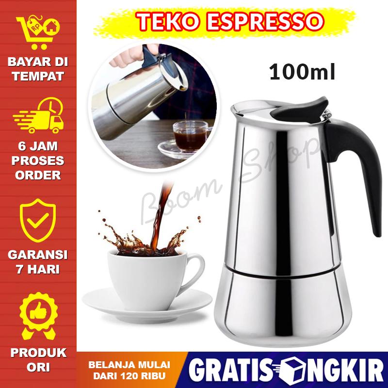 coffee maker moka pot kopi teko kopi pembuat kopi stainless besar awet panas teko kopi espresso coffee maker moka pot teko 100ml 2 cup mocapot kopi
