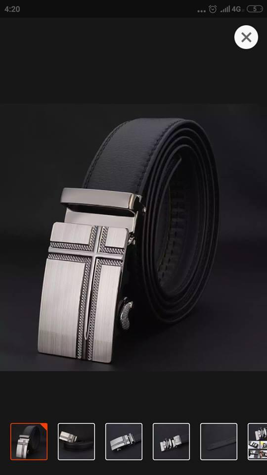 fashion pria campuran kulit asli sabuk ikat pinggang gesper pinggang tali pengikat otomatis kepala dikirim serandom- intli 3