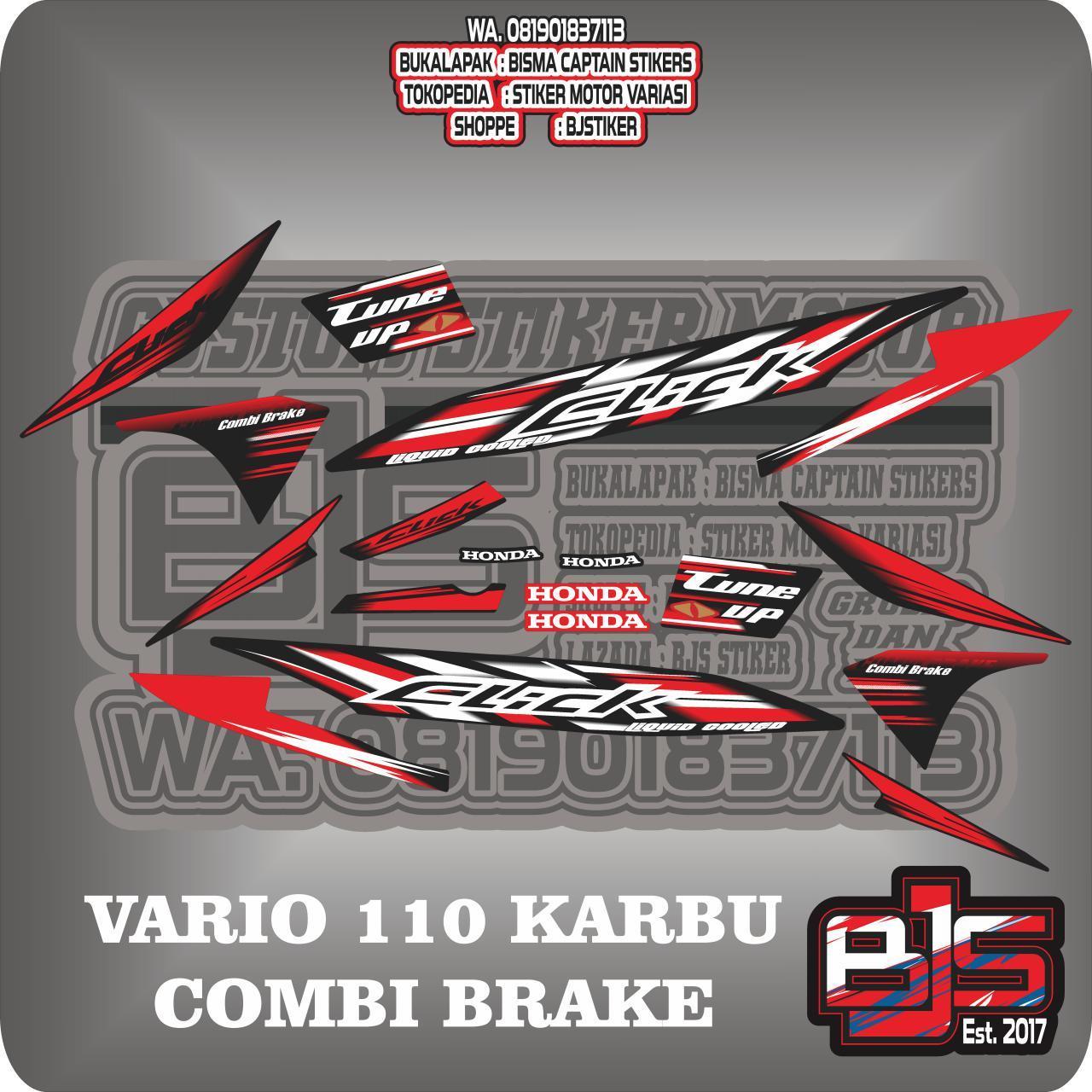 Stiker striping list motor vario 110 karbu click combi brake 5