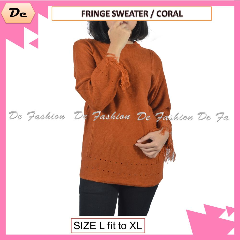 Premium Fringe Sweater Sweater Cewek Murah Sweater Cewek Korea Sweater Hoodie Cewek Baju Cewek Rajut Baju