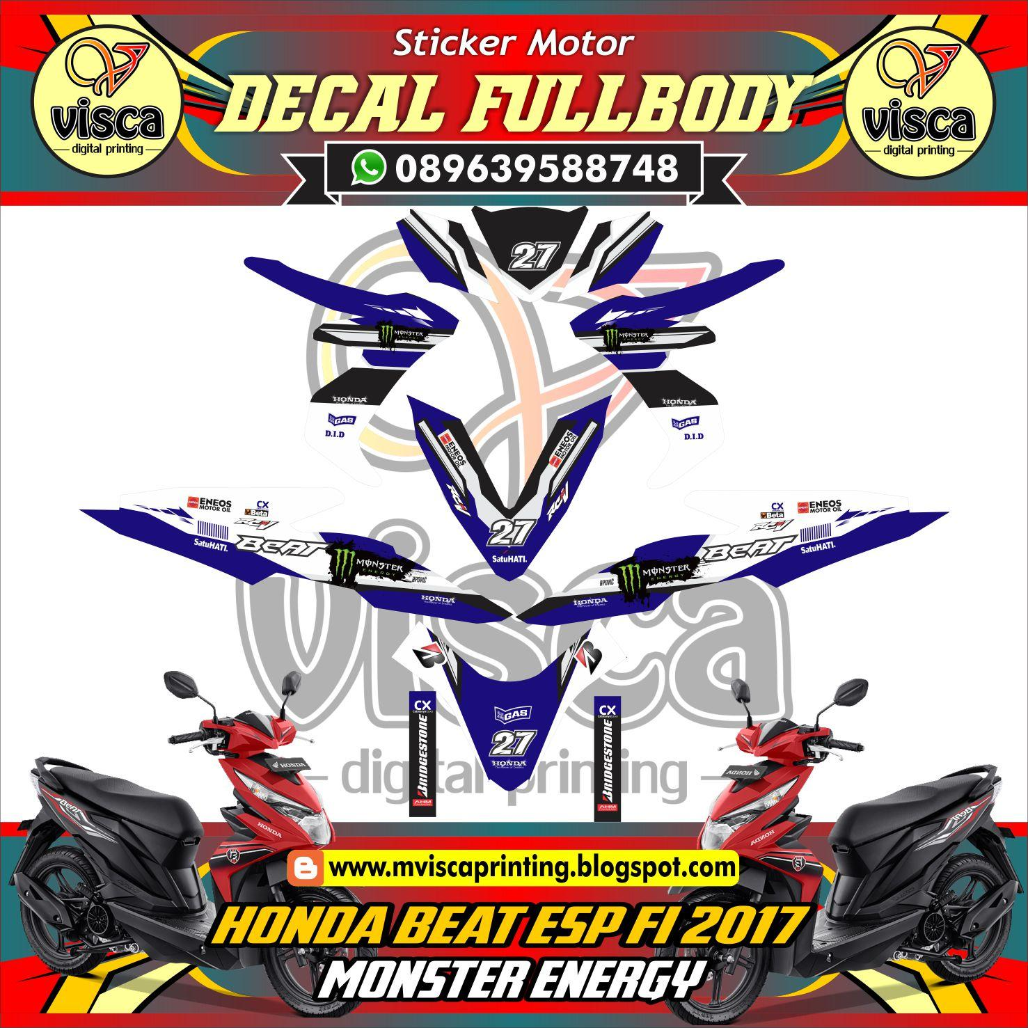 striping stiker motor beat fi new esp variasi icon biru