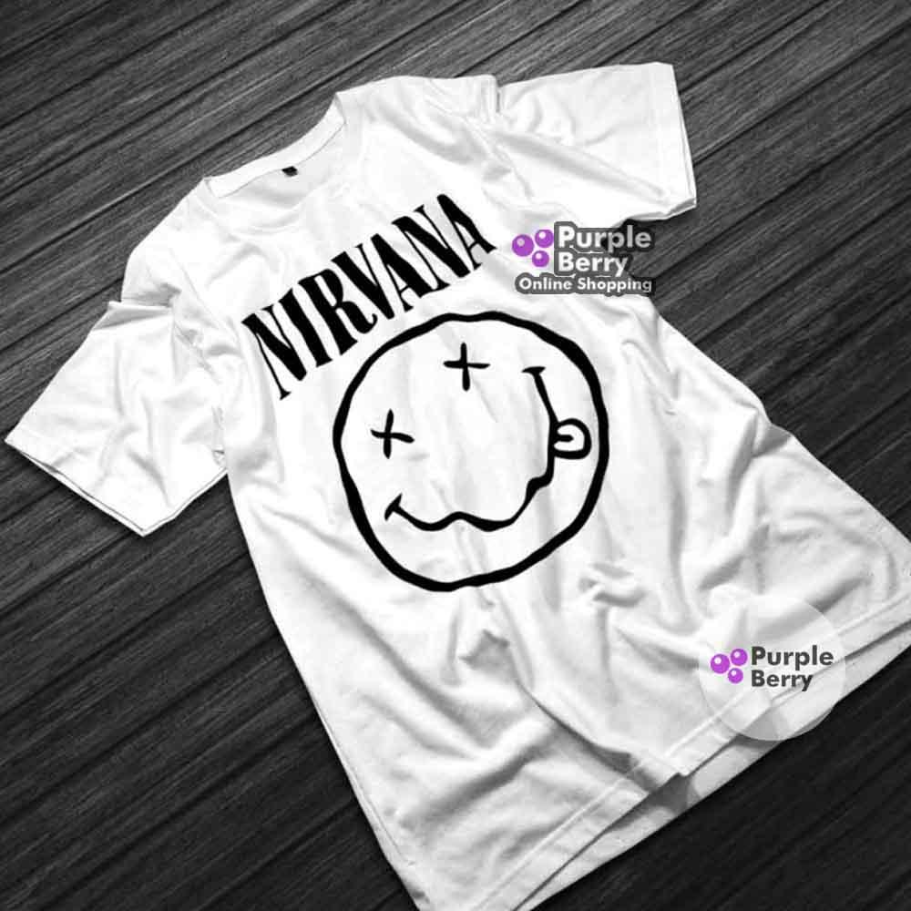 Kaos Band Nirvana Grunge Big Logo - Baju Tshirt Distro Musik Smile Nirvana | Purple 785