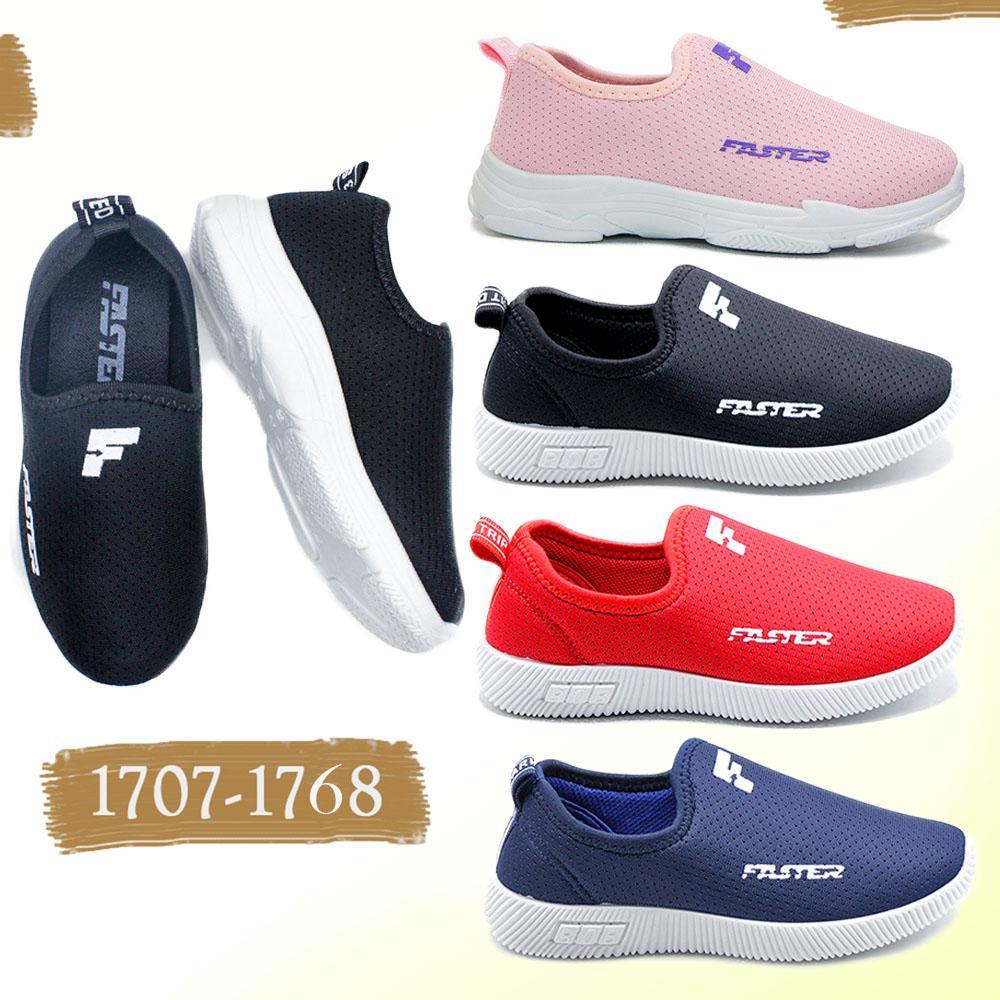 faster sepatu sneakers anak slip on 1706-1768 – navy size 32-37