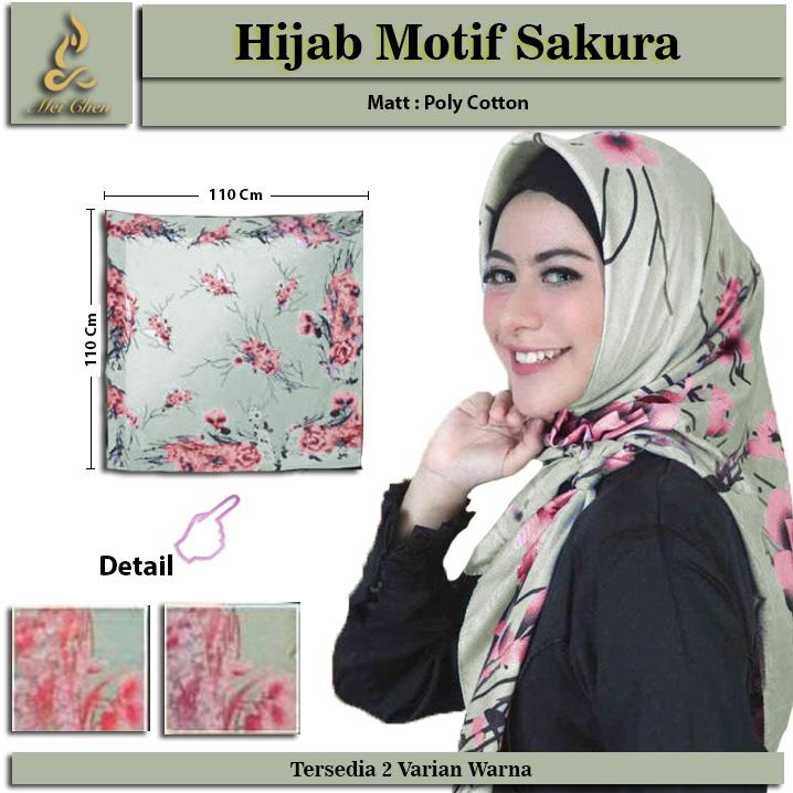 mei chen hijab motif bunga sakura