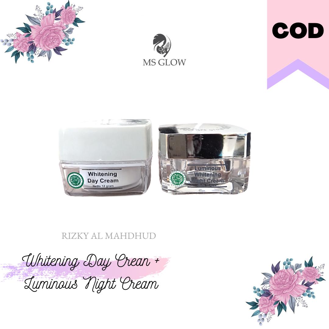 ms glow whitening day cream + luminous night cream – memudarkan noda hitam  jerawat aman bpom
