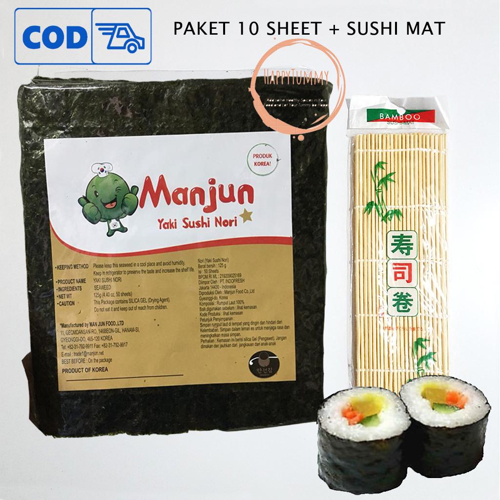 paket manjun 10 lembar yaki sushi nori sushimat rumput laut seaweed