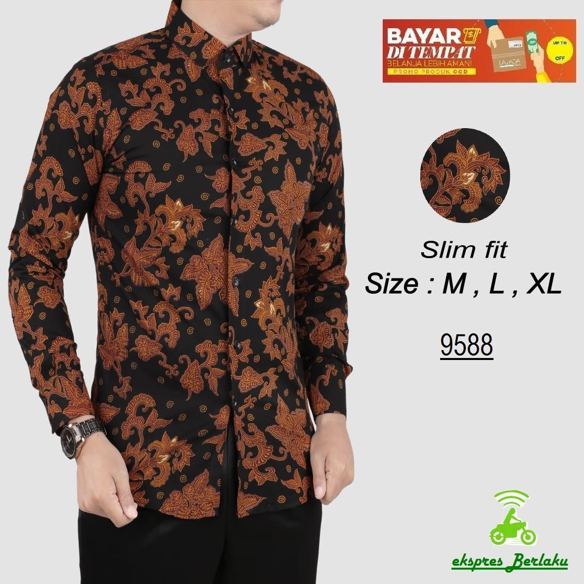her+man batik pria modern kemeja batik pria slim fit 9588