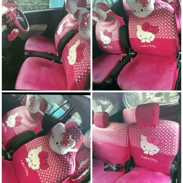 sarung jok hello kitty 24 in 1 kursi 3 baris universal pink