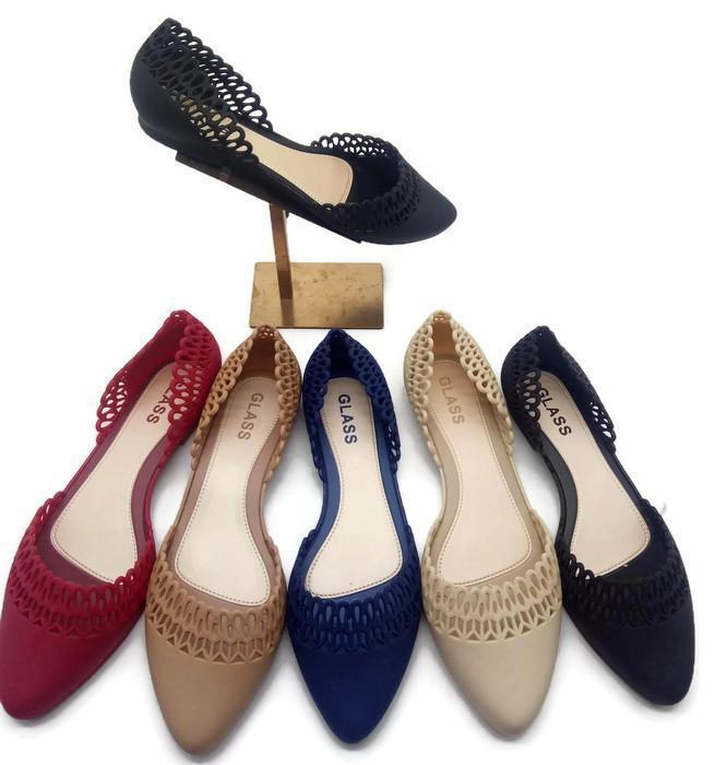 Flat Shoes Jelly Wanita - Sepatu Balet Jaring 190 Warna Dikirim Random