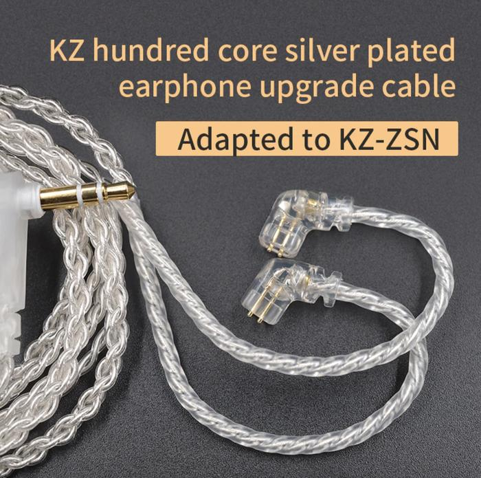 [original] kabel kz zsn upgrade wire silver plated with 3.5mm jack 2 pin connector