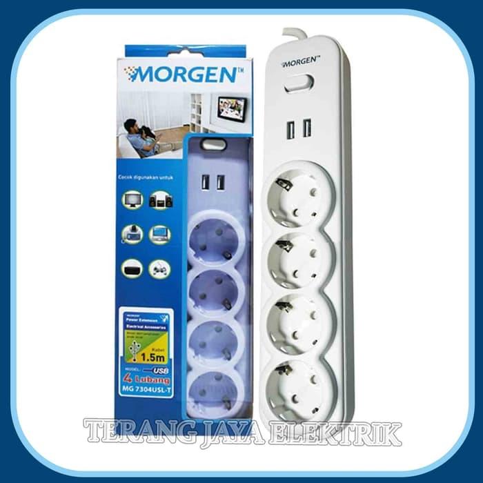 stop kontak 4 lubang + 2x usb + 1x saklar + kabel 1.5meter  mg-7304usl-t morgen (sni – garansi 1 th)