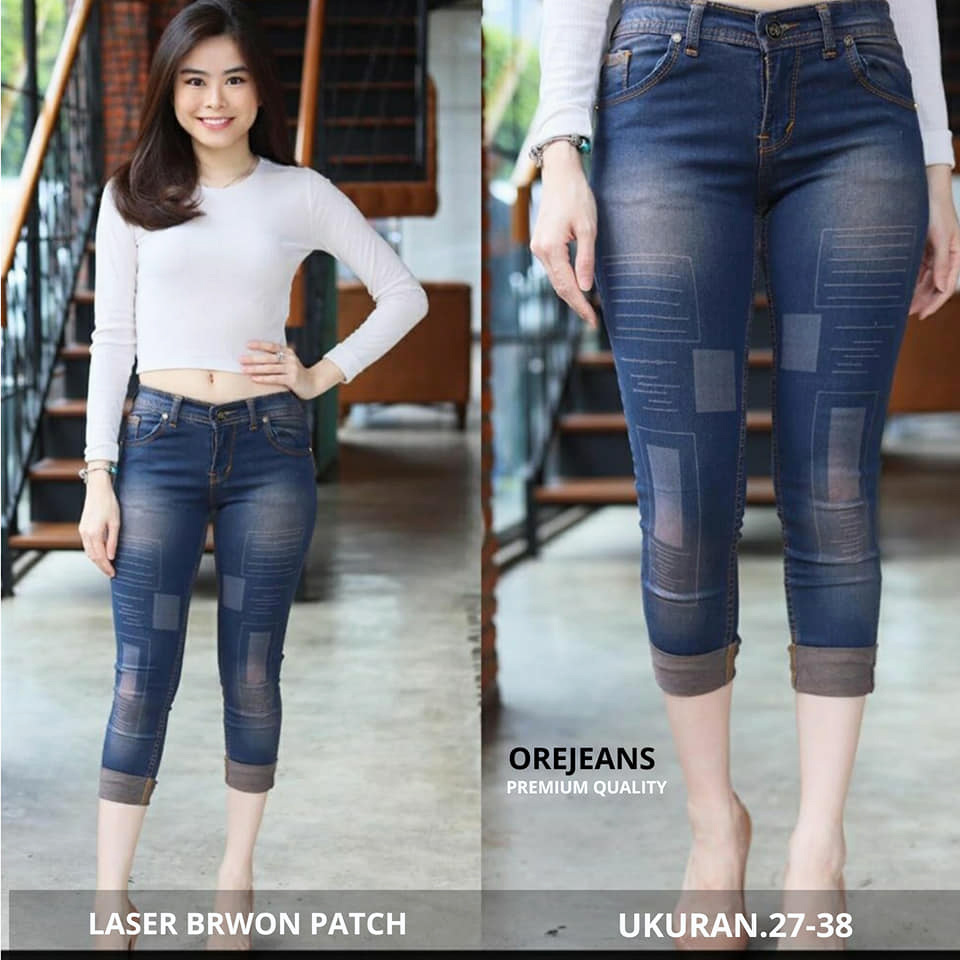 ore – jeans wanita  – 7/9 brown patch – size 27 sampai 34 softjeans strecht cod✅