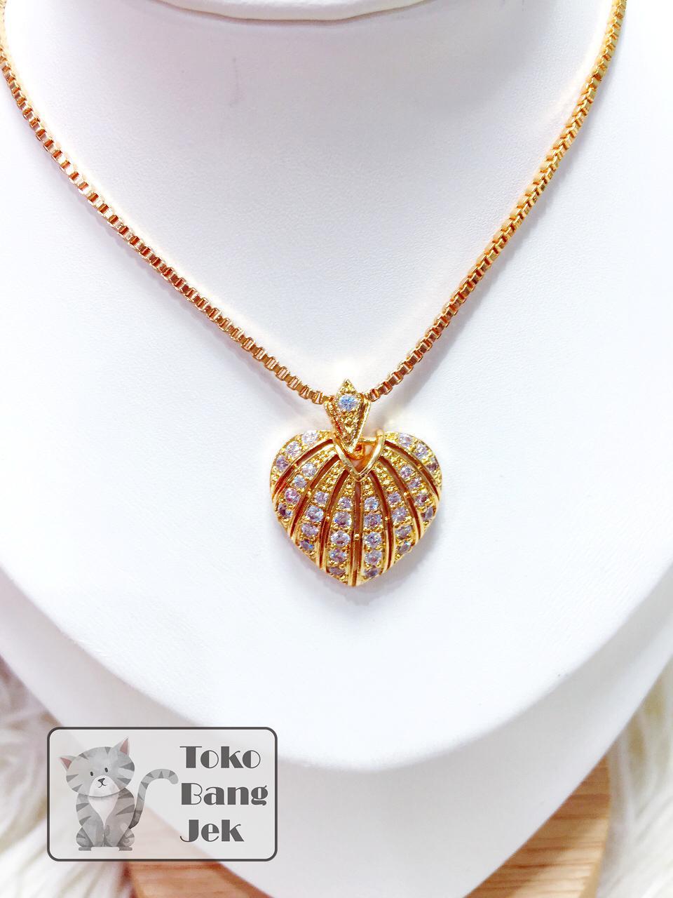 set kalung italy + liontin love xuping women womens jewelry aksesoris wanita