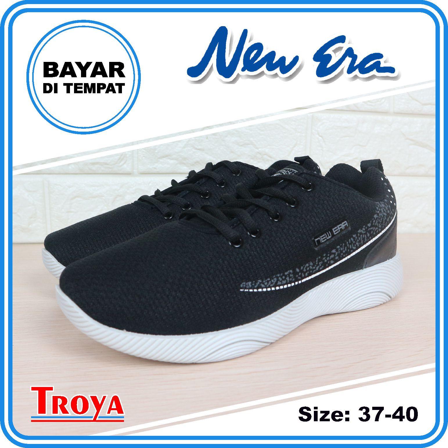 troya – new era sepatu sneakers wanita gracia01 hitam putih 37-40 / sepatu wanita gaul / sepatu lari olahraga wanita sporty / sepatuwanita olahraga troyastore