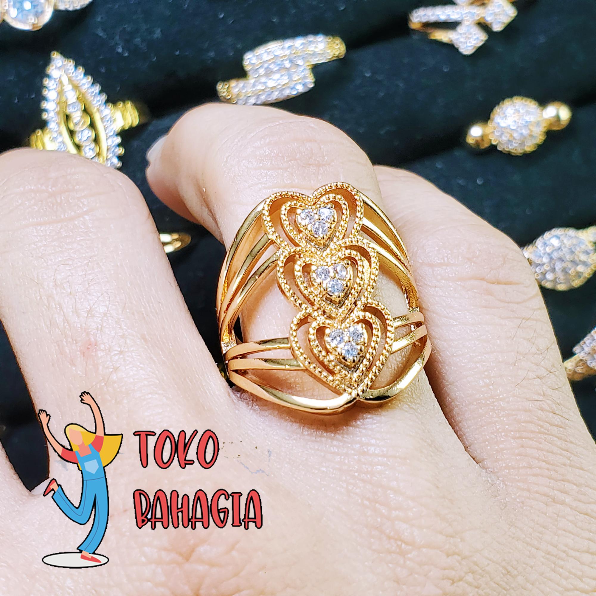bahagia store cincin fhasion wanita cantik motif berbagai macam love gold 023