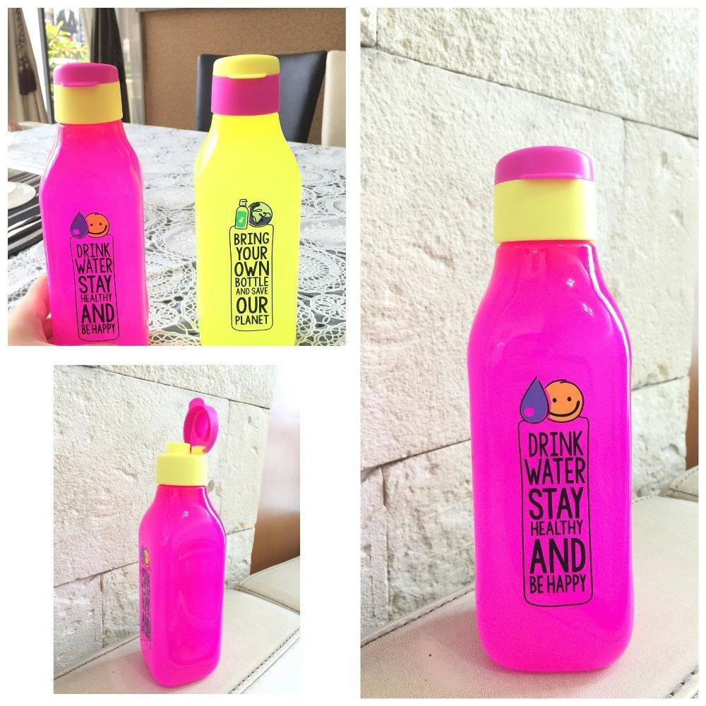 Tupperware Eco Bottle Square Neon 1 liter set isi 2 pcs