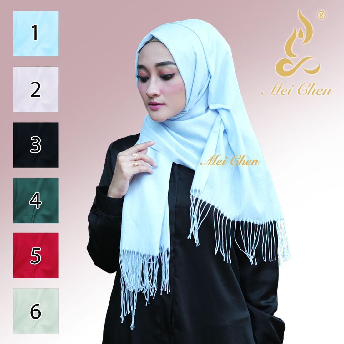 mei chen pashmina cashmere polos hijab jilbab kerudung pasmina rectangle