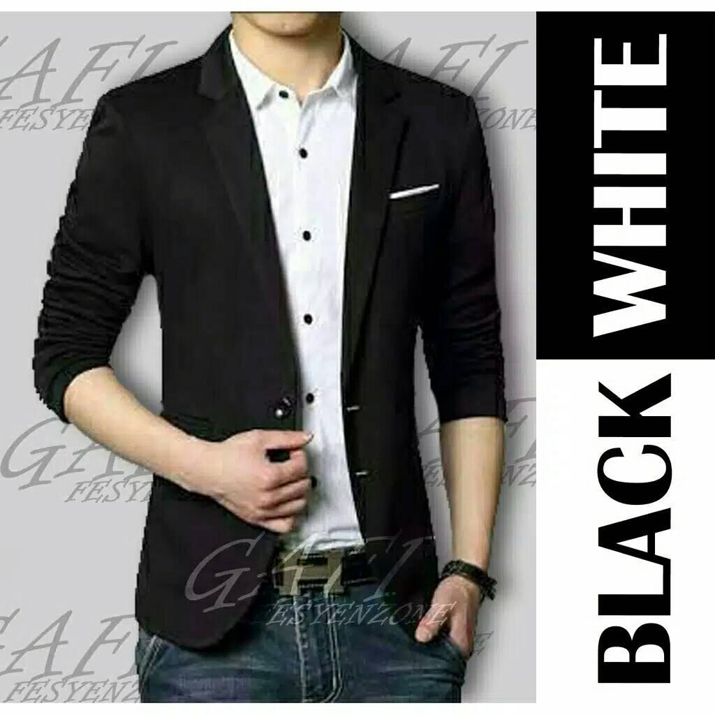 jas blazer hugo black pakaian pria baju kantor bahan katun stretch