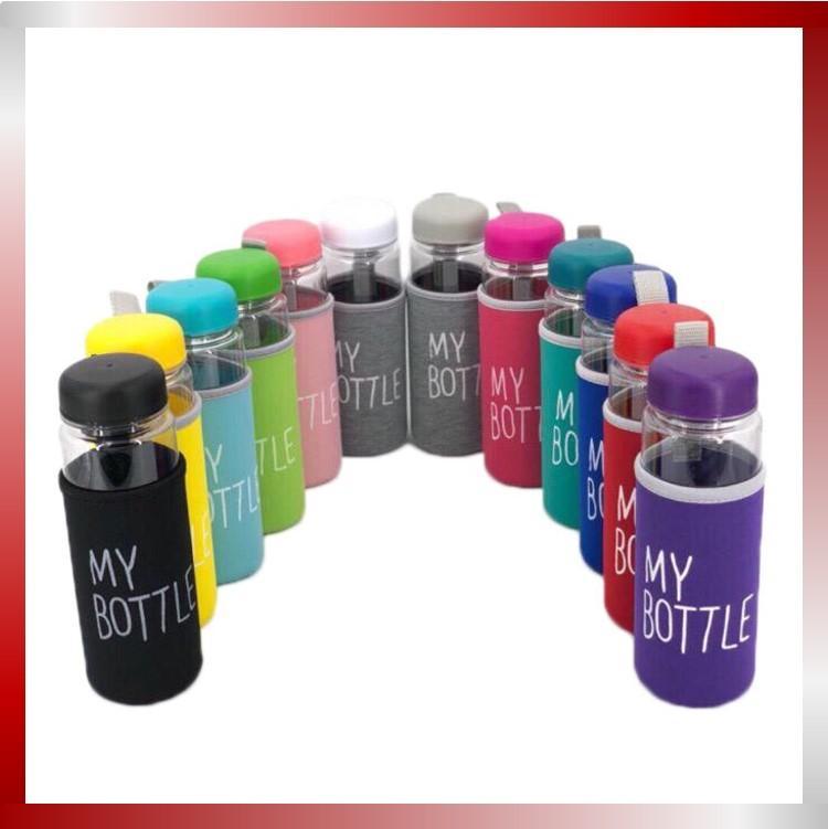 indo – (bahan pc) my bottle bening sarung busa 12 warna / ada logo bpa free / anti pecah / tanpa kotak