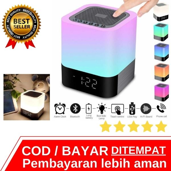 Speaker Bluetooth Mini Jam Alarm Colorful LED Light - Lampu Kamar Tidur