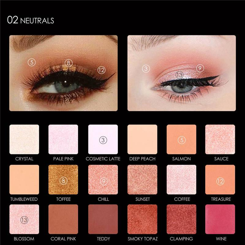 FOCALLURE 18 COLORS EYESHADOW PALETTE (WITH MIRROR) - 2A# FA40