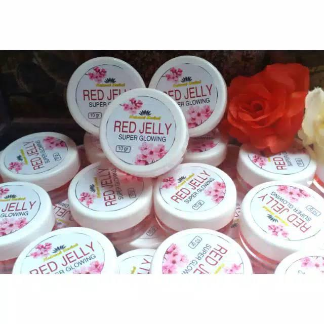 red jelly extra glowing whitening / krim wajah red jelly glowing 4x whitening 4x bikin glowing dengan formula extra