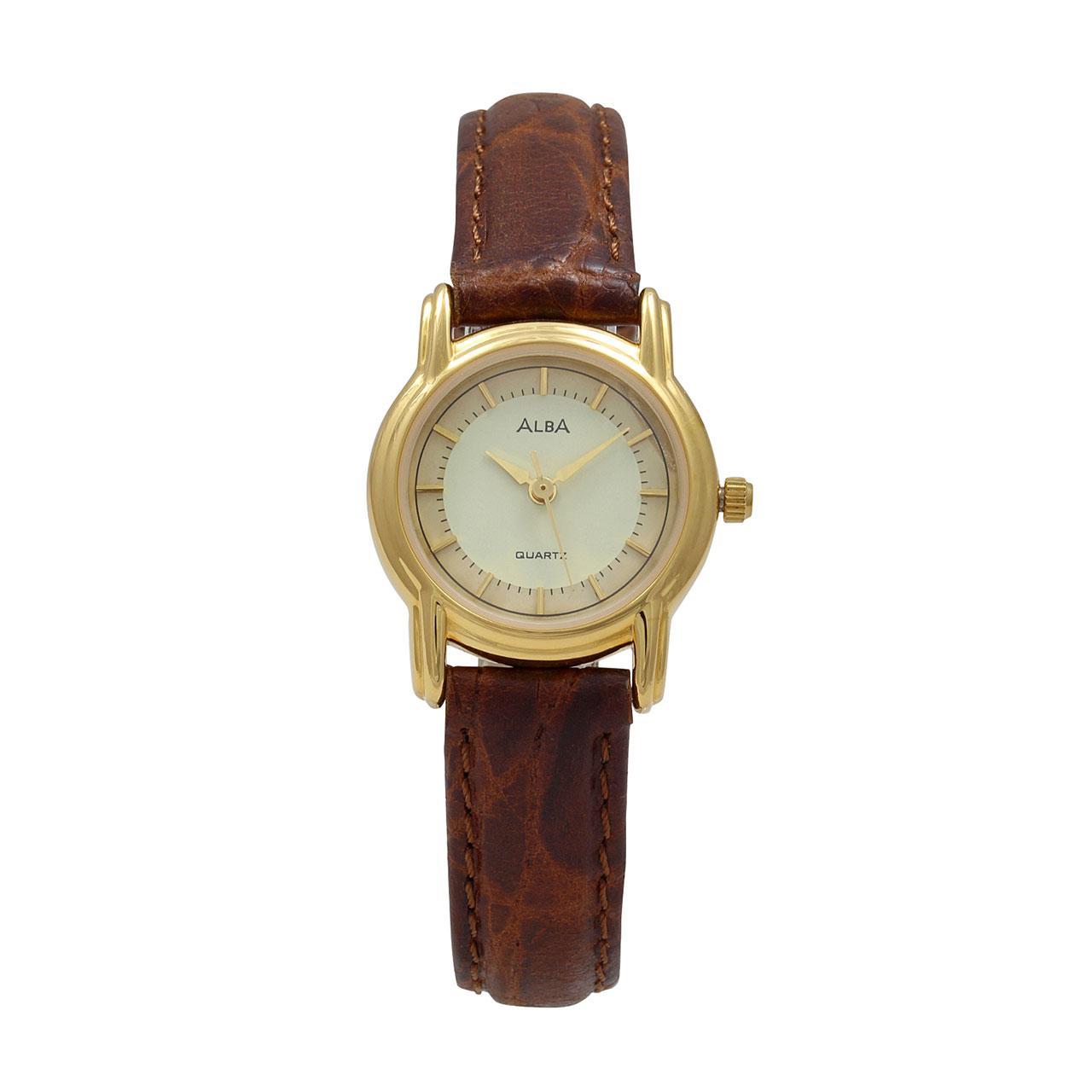 ALBA Jam Tangan Wanita - Brown Gold - Leather Strap - ATCX58