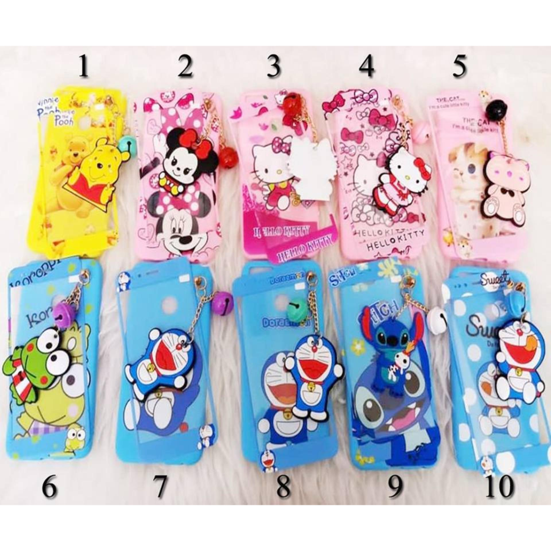 Softcase 4Dimensi Karakter BONEKA GANTUNGAN KACA For OPPO A3S Free Tempered Glass 360 Motif Senada Case