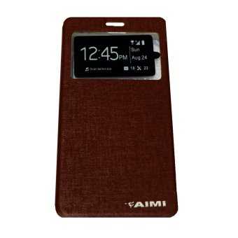 Aimi Leather Case Sarung Untuk Oppo Joy 3 A11W Flipshell/Flipcover - Coklat